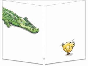 carte postale cache-cache ct001 le poussin et le croco fermée