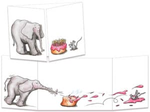carte postale cache-cache ct032 elephant et gateau