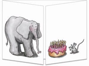 carte postale cache-cache ct032 elephant et gateau fermée