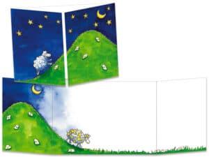 carte postale cache-cache ct033 mouton et lune