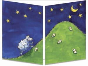 carte postale cache-cache ct033 mouton et lune fermée