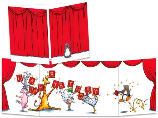 carte postale cache-cache ct076 rideau rouge
