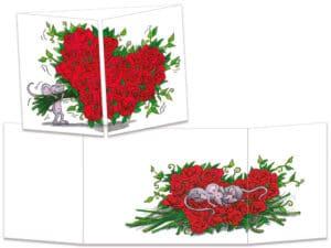 carte postale cache-cache ct089 bouquet de roses