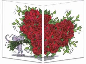 carte postale cache-cache ct089 bouquet de roses fermée