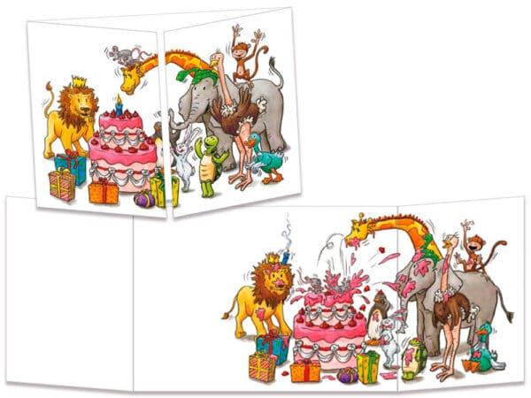 carte postale cache-cache ct094 tous les animaux anniversaire