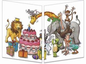 carte postale cache-cache ct094 tous les animaux anniversaire fermée