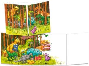 carte postale cache-cache ct095 dinosaures dans la forêt
