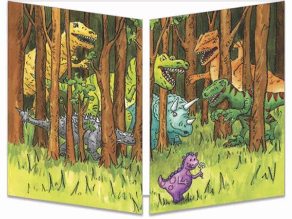 carte postale cache-cache ct095 dinosaures dans la forêt fermée
