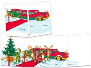 carte postale cache-cache ct124 la limousine du père noël
