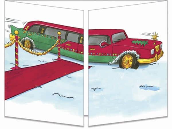 carte postale cache-cache ct124 la limousine du père noël fermée