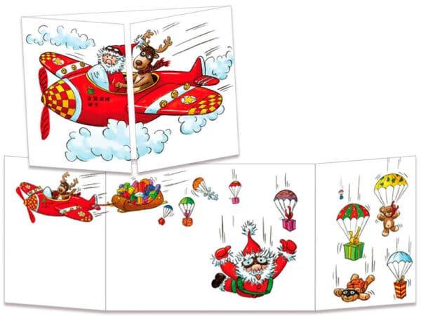 carte postale cache-cache ct129 père noël parachutiste