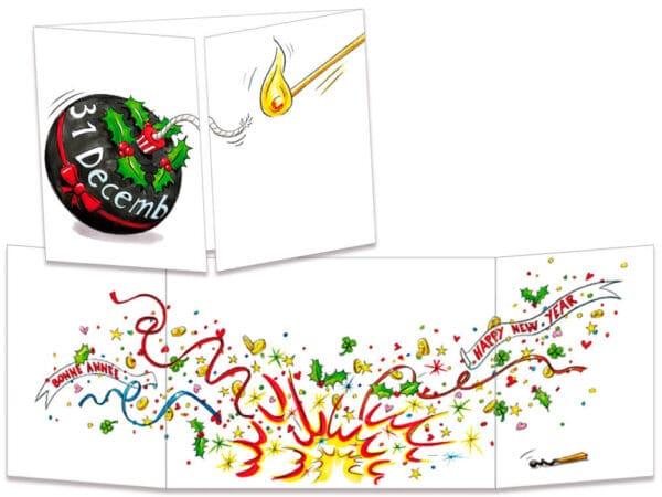 carte postale cache-cache ct133 bombe bonne année