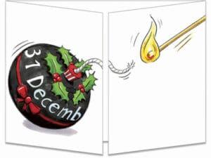carte postale cache-cache ct133 bombe bonne année fermée