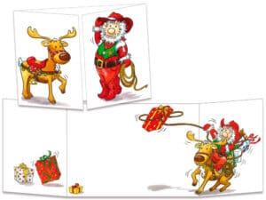 carte postale cache-cache ct135 père Noël cow boy