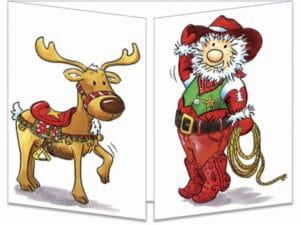 carte postale cache-cache ct135 père Noël cow boy fermée