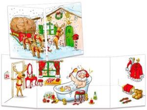 carte postale cache-cache ct137 le père Noël prend son bain