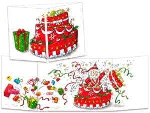 carte postale cache-cache ct139 le père Noël sort du gateau