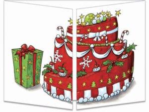 carte postale cache-cache ct139 le père Noël sort du gateau fermée