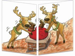 carte postale cache-cache ct140 père Noël bloqué dans la cheminée fermée