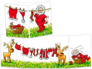 carte postale cache-cache ct143 le père Noël fait sécher son linge
