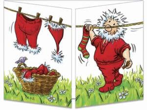 carte postale cache-cache ct143 le père Noël fait sécher son linge fermée