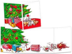 carte postale cache-cache ct145 les chats et les boules du sapin