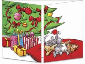 carte postale cache-cache ct145 les chats et les boules du sapin fermée