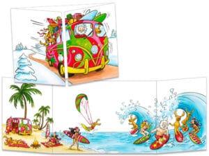 carte postale cache-cache ct146 le père Noël en combi VW