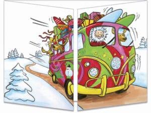 carte postale cache-cache ct146 le père Noël en combi VW fermée