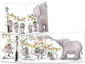 carte postale cache-cache ct149 l'éléphant et les souris bonne année