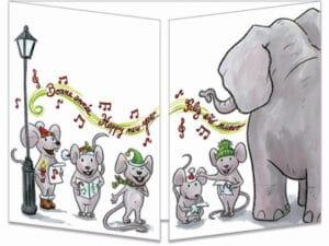carte postale cache-cache ct149 l'éléphant et les souris bonne année fermée