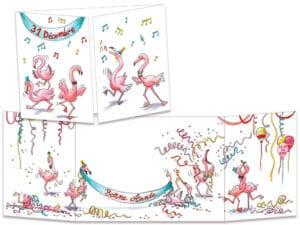 carte postale cache-cache ct151 la bonne année des flamant roses