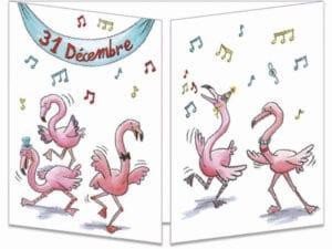 carte postale cache-cache ct151 la bonne année des flamant roses fermée
