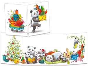 carte postale cache-cache ct153 les pandas et les cadeaux de noël