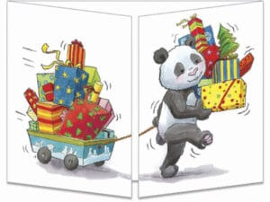 carte postale cache-cache ct153 les pandas et les cadeaux de noël fermée