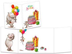 carte postale cache-cache ct221 hippo aux ballon anniv