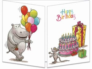 carte postale cache-cache ct221 hippo aux ballon anniv fermée