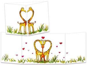 carte postale cache-cache ct236 famille girafe