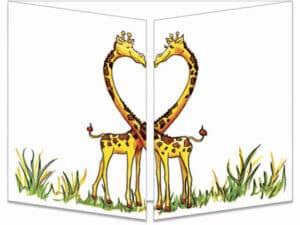 carte postale cache-cache ct236 famille girafe fermée