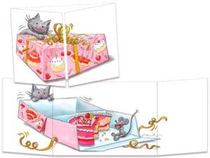 carte postale cache-cache ct237 le chat et la boîte à gateau