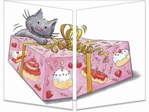 carte postale cache-cache ct237 le chat et la boîte à gateau fermée