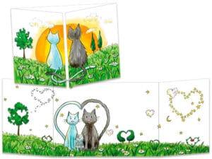 carte postale cache-cache ct244 famille chats