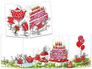 carte postale cache-cache ct248 les souris et le thé d'anniversaire