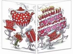 carte postale cache-cache ct248 les souris et le thé d'anniversaire fermée