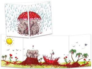 carte postale cache-cache ct252 la pluie de cœurs