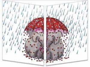 carte postale cache-ct252 la pluie de cœurs fermée