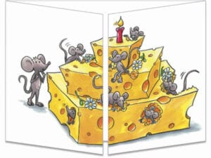 carte postale cache-cache ct259 anniv fromage et souris fermée
