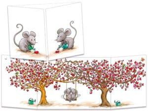 carte postale cache-cache ct270 souris et les arbres cœurs