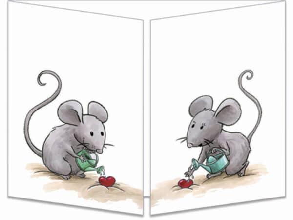 carte postale cache-cache ct270 souris et les arbres cœurs fermée