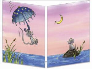 carte postale cache-cache ct273 les souris dans le parapluie fermée